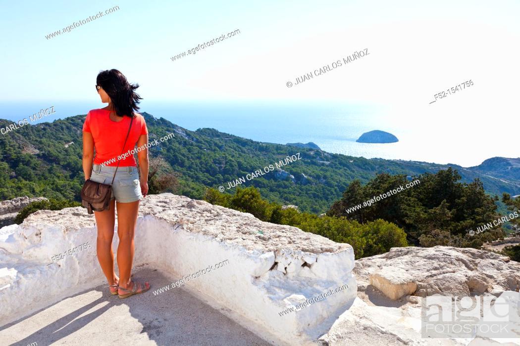 Stock Photo: Monolithos Castle, Rhodes, Dodecanese islands, Greece, Europe.