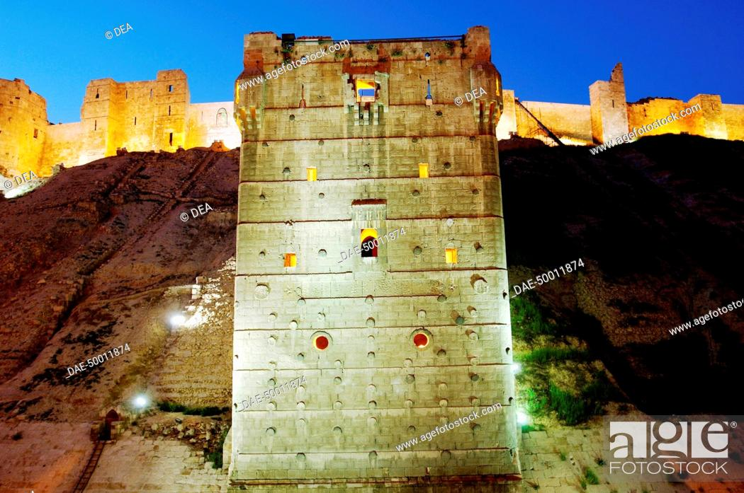 Stock Photo: Syria - Aleppo (Halab). The Citadel (XIII century UNESCO World Heritage List, 1986). The first light of evening.