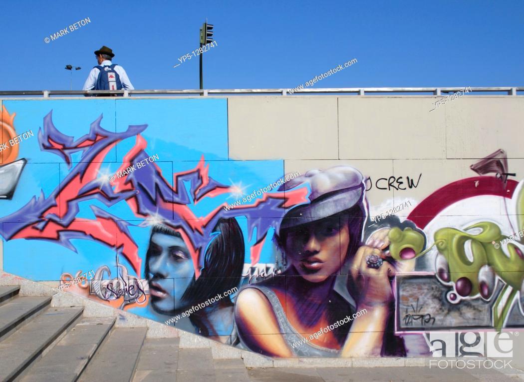 Stock Photo: Graffiti at the Puente de Chapina bridge Seville.