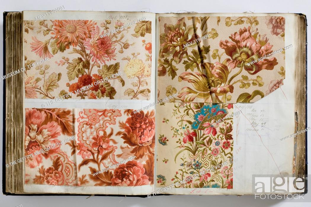 Double page spread showing four large printed cotton samples