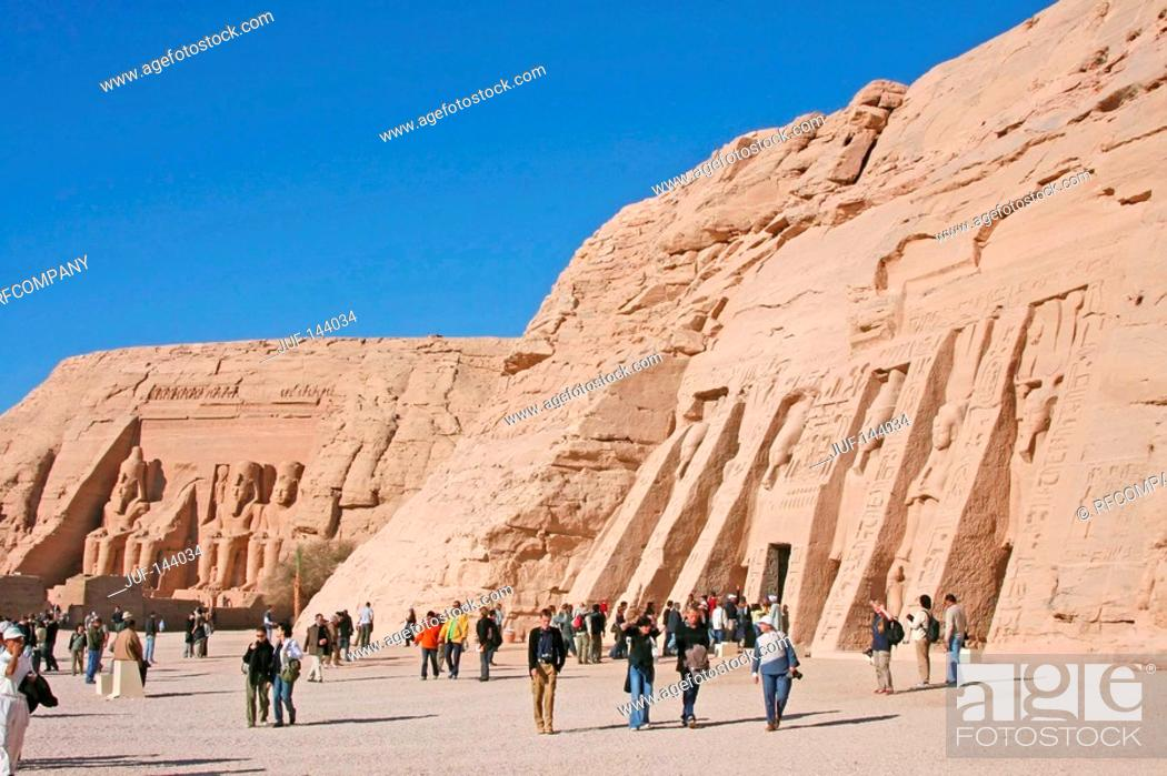 Stock Photo: Egypt: Abu Simbel - tourists in front of temples.