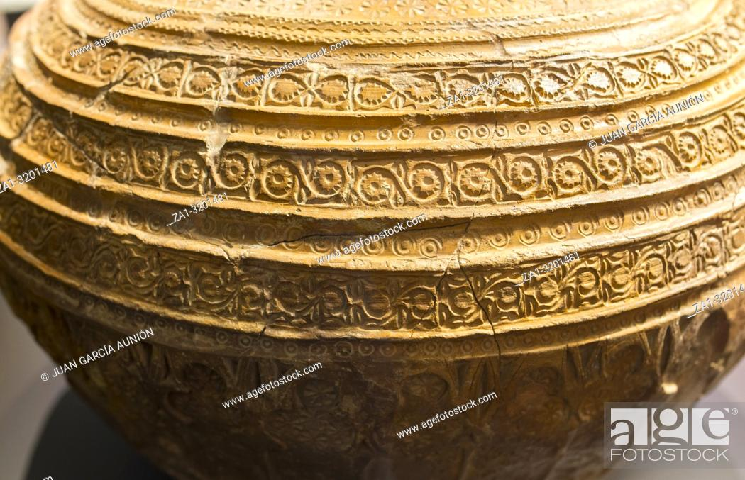 Stock Photo: large earthnware jar decorated with intrincate patterns. 12th Century, Malaga Museum, Spain.