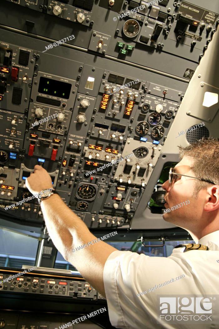 Passenger airplane, cockpit, Copilot, Instruments, service