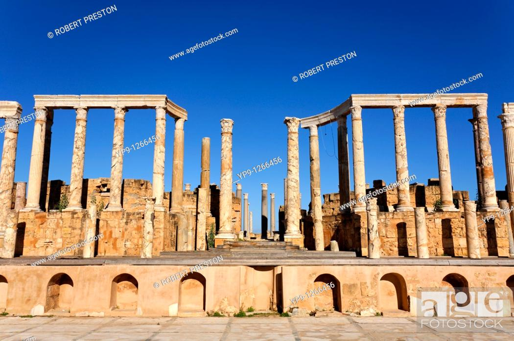 Stock Photo: The theatre at Leptis Magna, Libya.