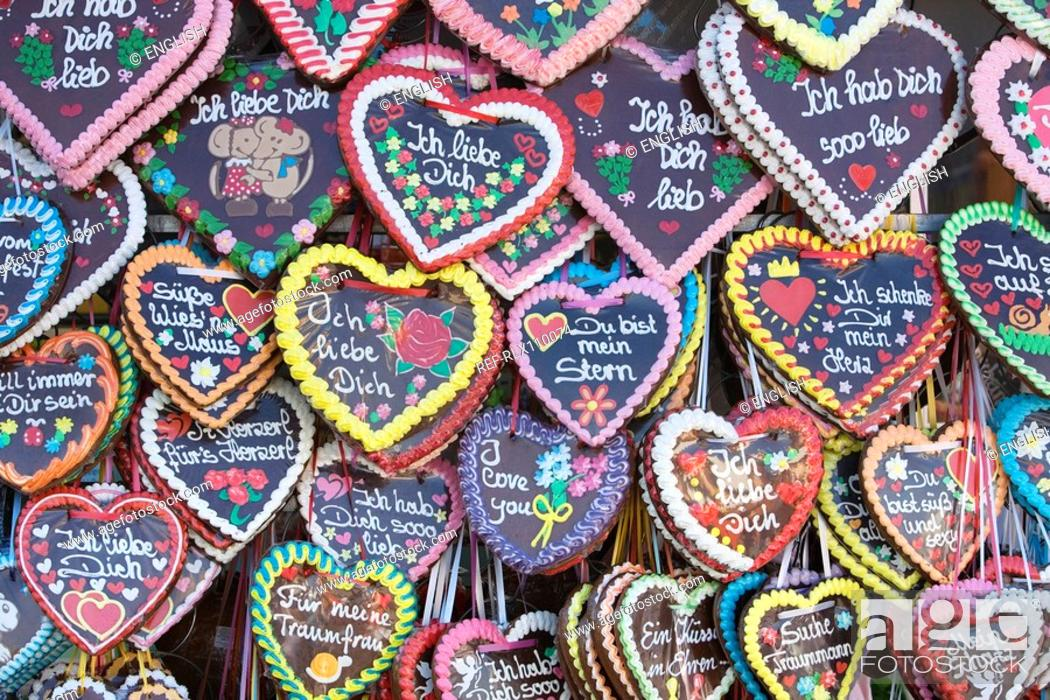 Stock Photo: Large assortment of Gingerbread hearts, at Oktoberfest, Munich, Germany.
