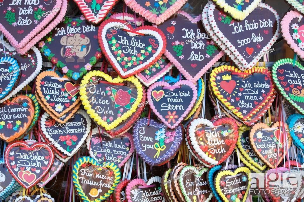 Stock Photo: Large assortment of Gingerbread hearts, at Oktoberfest, Munich, Germany.