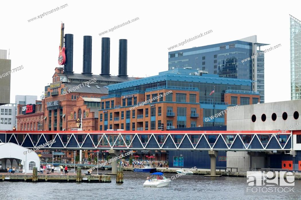 Stock Photo: Buildings at the waterfront, Maritime Museum, National Aquarium, Inner Harbor, Baltimore, Maryland, USA.