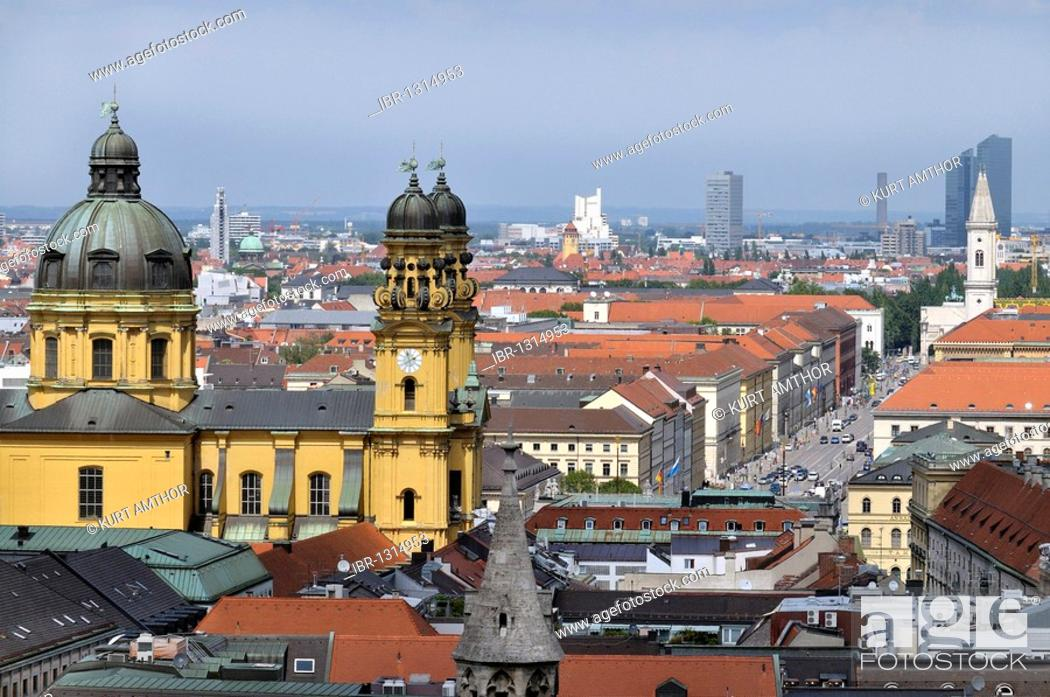 Stock Photo: View from the spire of the Alten Peter church to the Theatinerkirche church, Ludwigstrasse street, Schwabing, Munich, Bavaria, Germany, Europe.