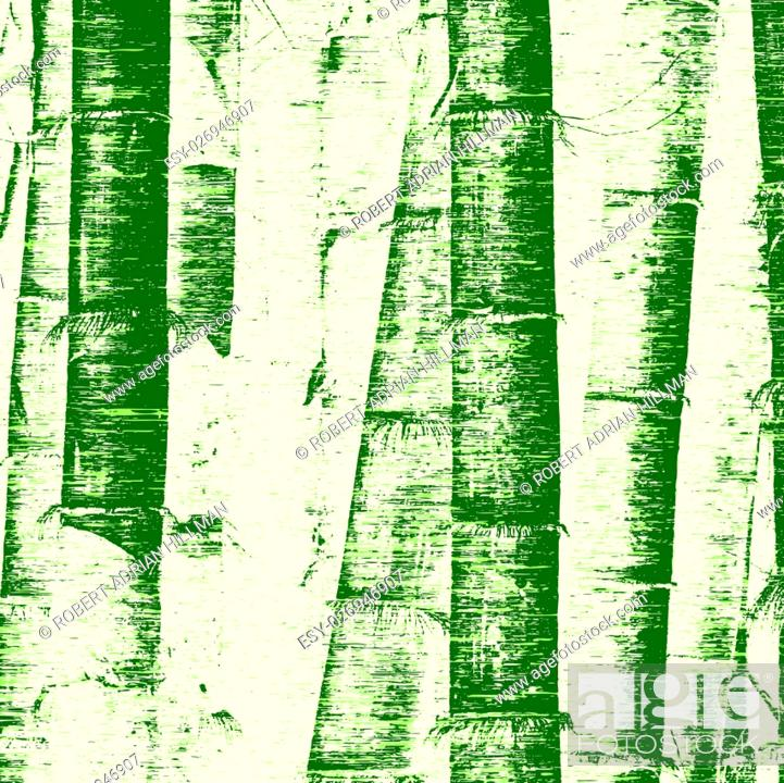 Vector: Editable vector illustration of bamboo stems and grunge.