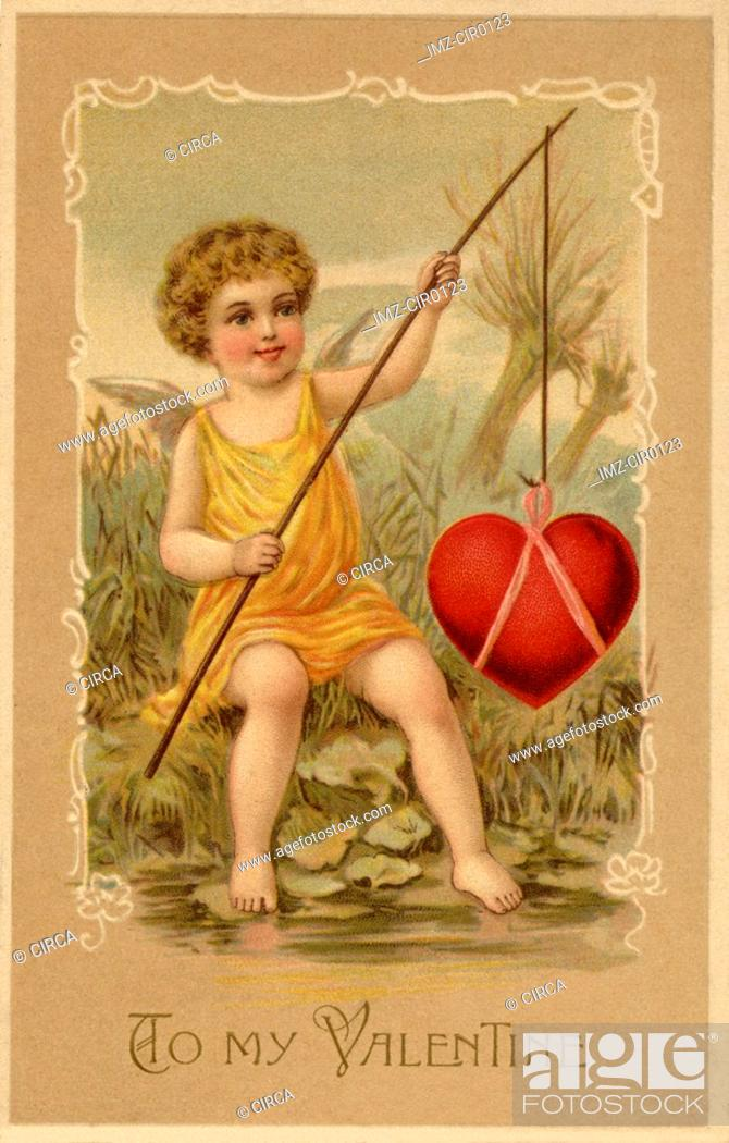 Stock Photo: A vintage Valentines Day card with a cupid fishing a heart.