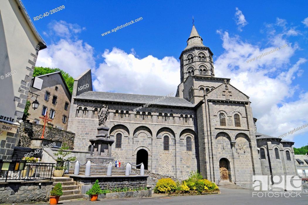 Stock Photo: Pilgrimage church, Notre Dame, Orcival, Departement Puy-de-Dome, France.