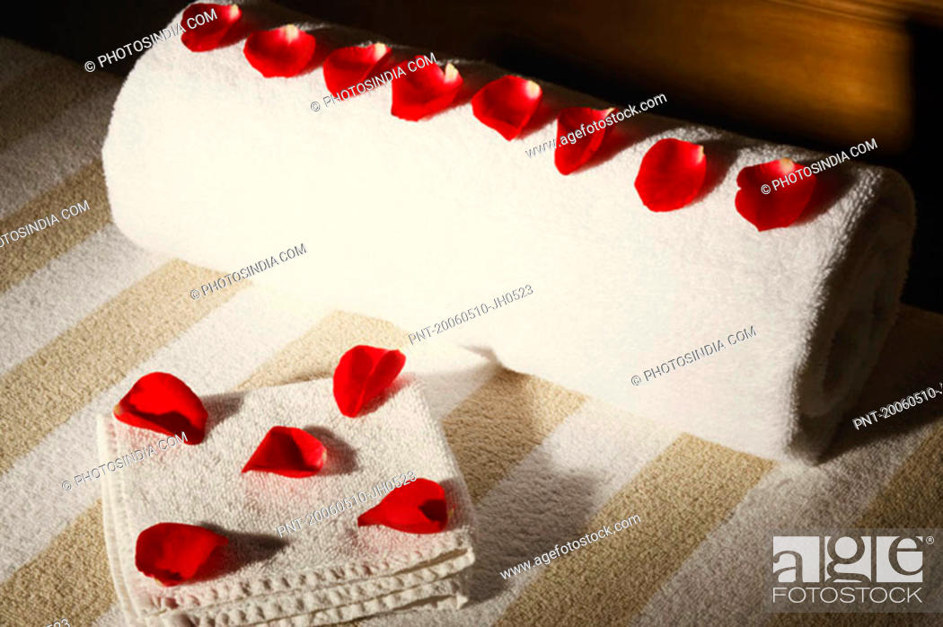 Stock Photo: High angle view of rose petals on towels.
