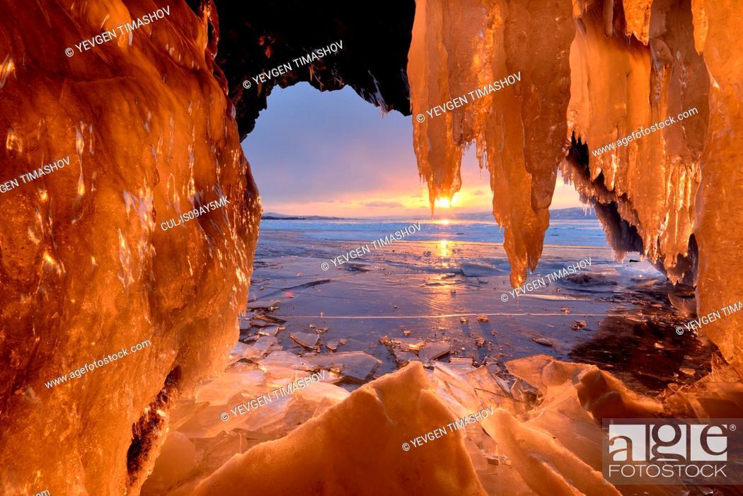 Stock Photo: Kharantsy ice caves at sunset, Baikal Lake, Olkhon Island, Siberia, Russia.