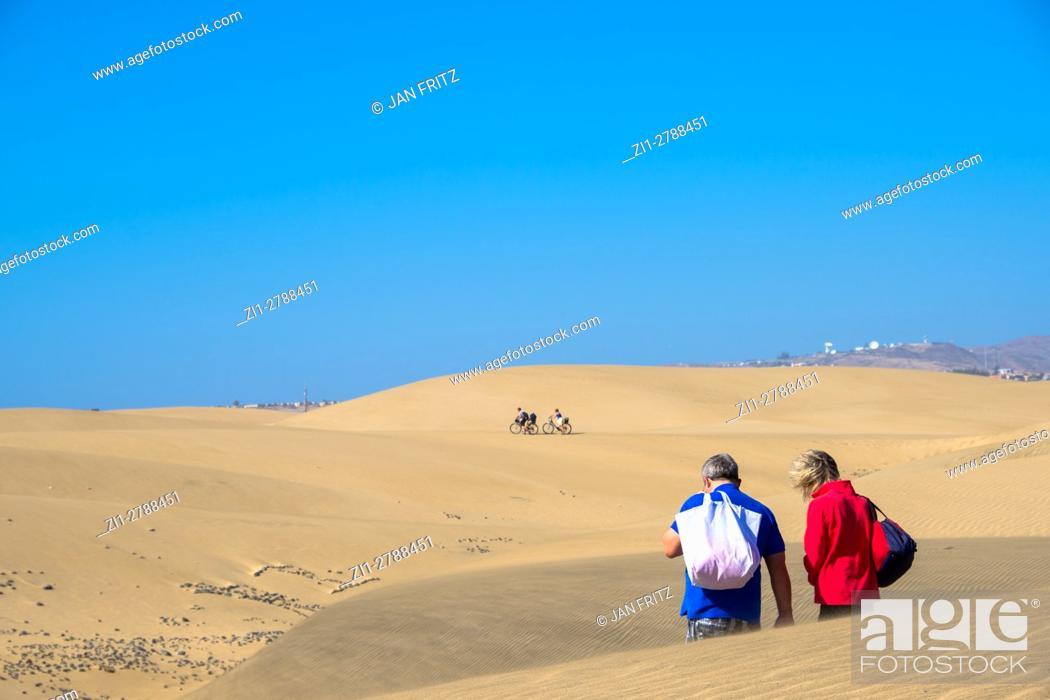 Stock Photo: sand dunes at Maspalomas, Grand Canaria, Spain.