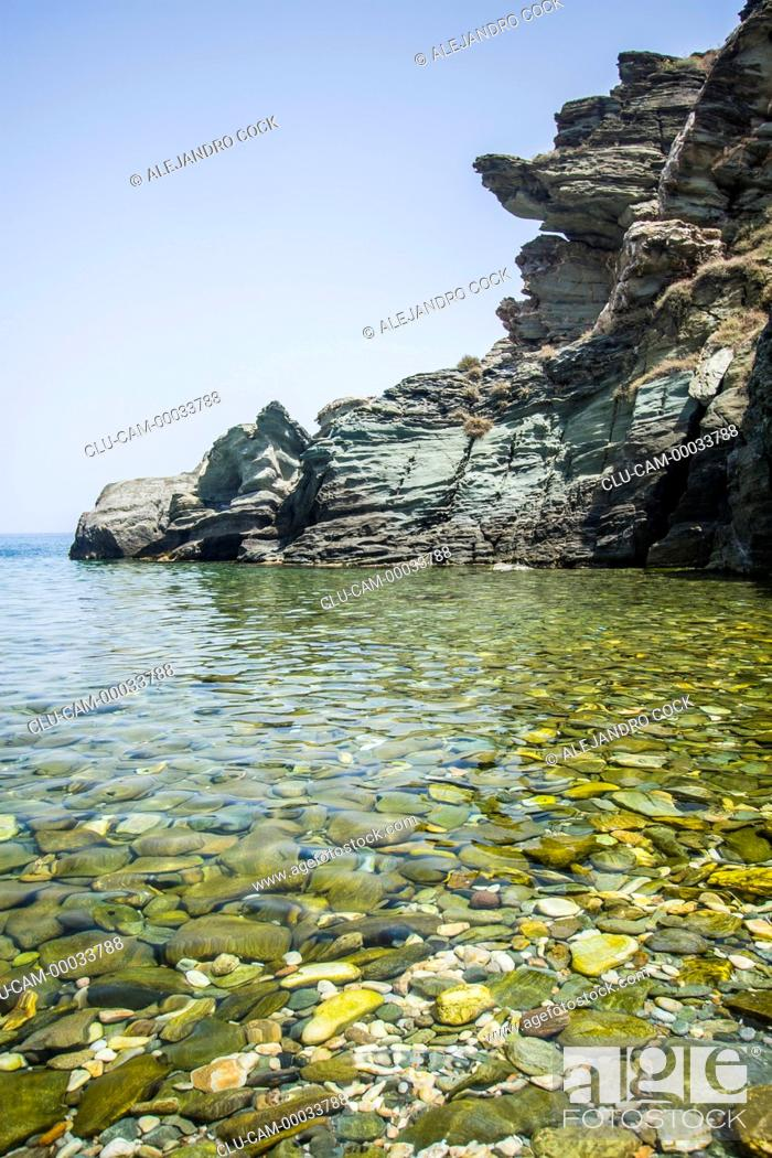 Stock Photo: Kamares of Coast, Sifnos, Kastro, Islands of Ciclades, Greece, Western Europe.