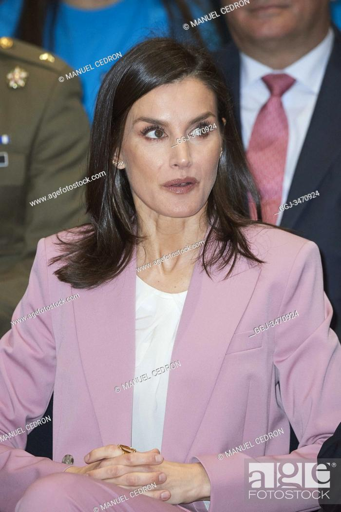 Stock Photo: Queen Letizia of Spain attends the proclamation of the winner of the 'Princess of Girona 2020 Foundation Award' in the category of 'Scientific Research' at.