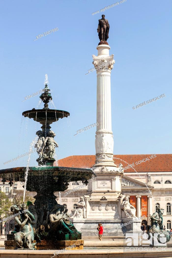 Stock Photo: Pedro IV Square, Lisbon, Portugal, Europe.