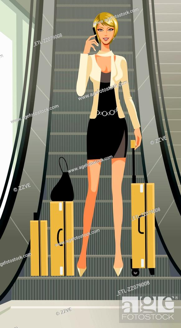 Stock Photo: A woman with her luggage at the escalators.