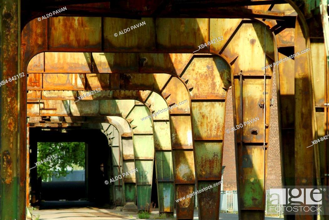 Stock Photo: Henrichshuette old blast furnace now museum, Hattingen, Ruhr area, Germany.