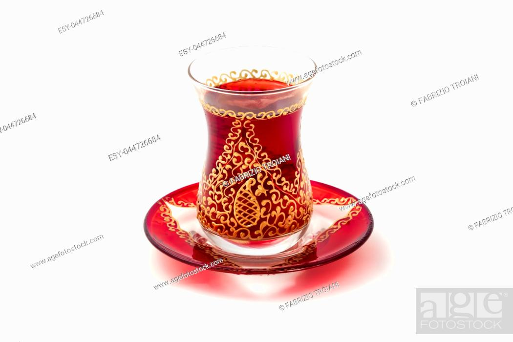 Stock Photo: Tea in Azerbaijani traditional armudu glass.
