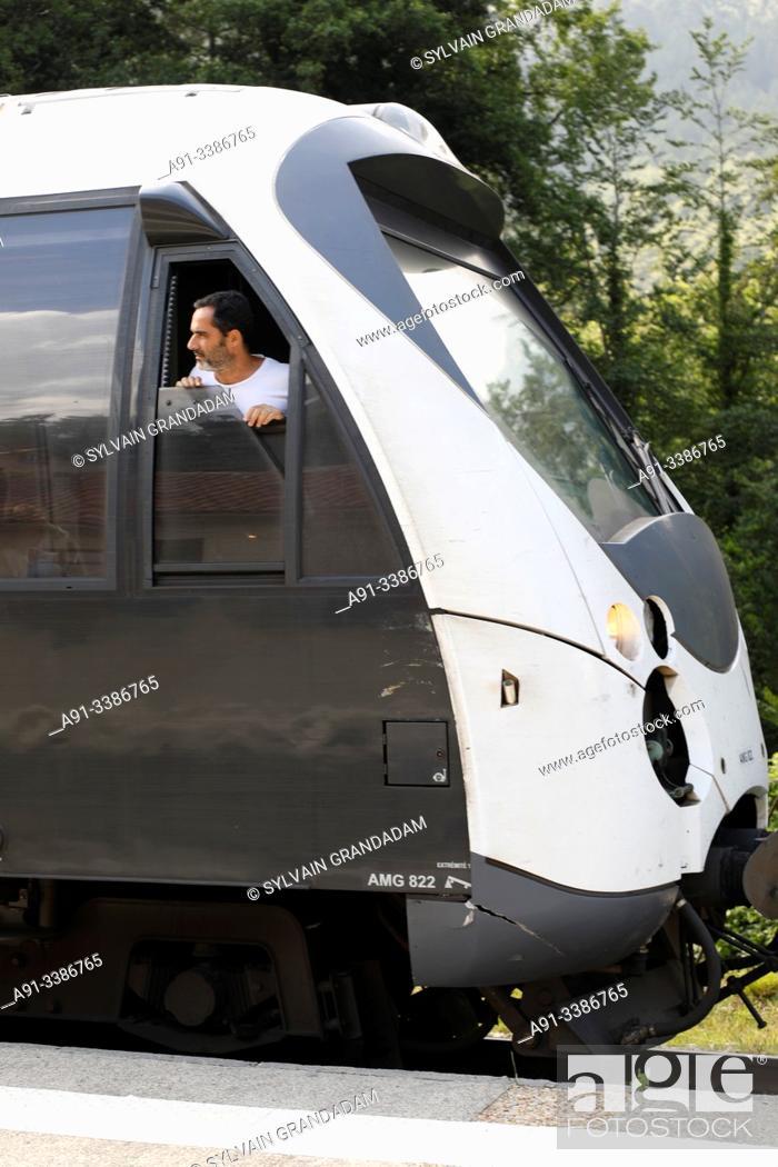 Stock Photo: France, Corsica, Vizzavona forest railway station.