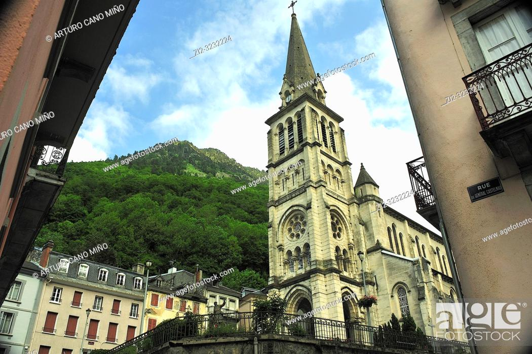 Stock Photo: The Church of Our Lady, 19th century. Cauterets town, Hautes-Pyrénées department , Occitanie region, France.