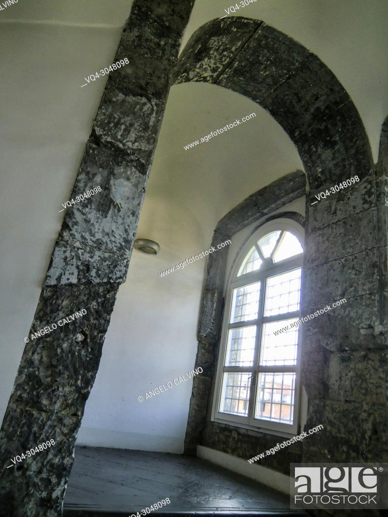 Stock Photo: Internal view of Conservatorio di Sant'Anna, Abbey of S. Lorenzo now Universita  degli Studi della Campania ''Luigi Vanvitelli'', Aversa, Campania, Italy.