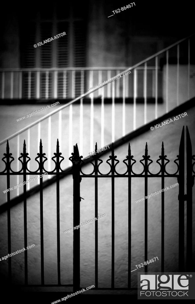 Stock Photo: Lines  Architecture  Railings, stairs and windows.