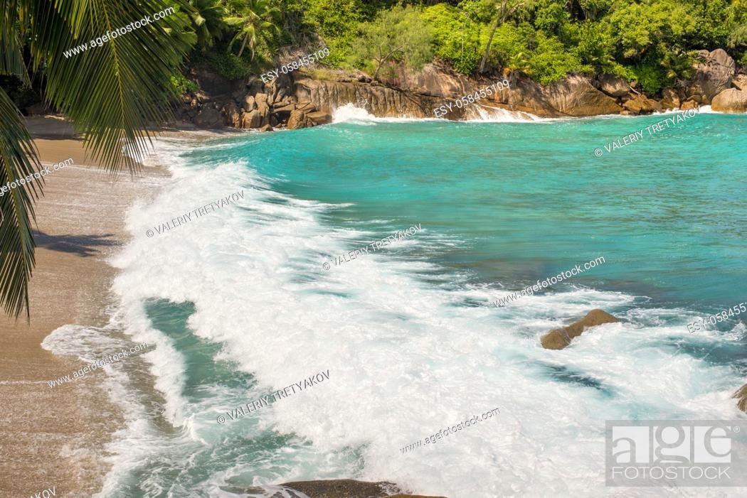 Stock Photo: Ocean wave on a wild sandy beach on the Anse Major, Mahe Island, Seychelles, Indian Ocean, Easter Africa.