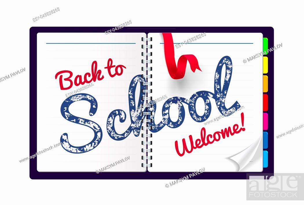 Stock Photo: Back to school Illustration on a notepad background. Vector illustration.