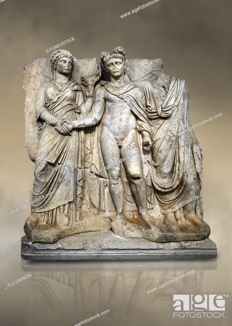Stock Photo: Roman Sebasteion releif sculpture of emperor Claudius and Agrippina, Aphrodisias Museum, Aphrodisias, Turkey. Against an art background. .