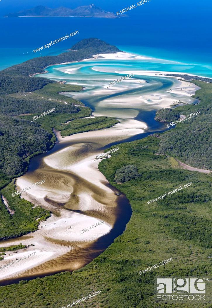 Stock Photo: View downstream to Hill Inlet and Whitehaven Beach, Whitsunday Island, Queensland, Australia.