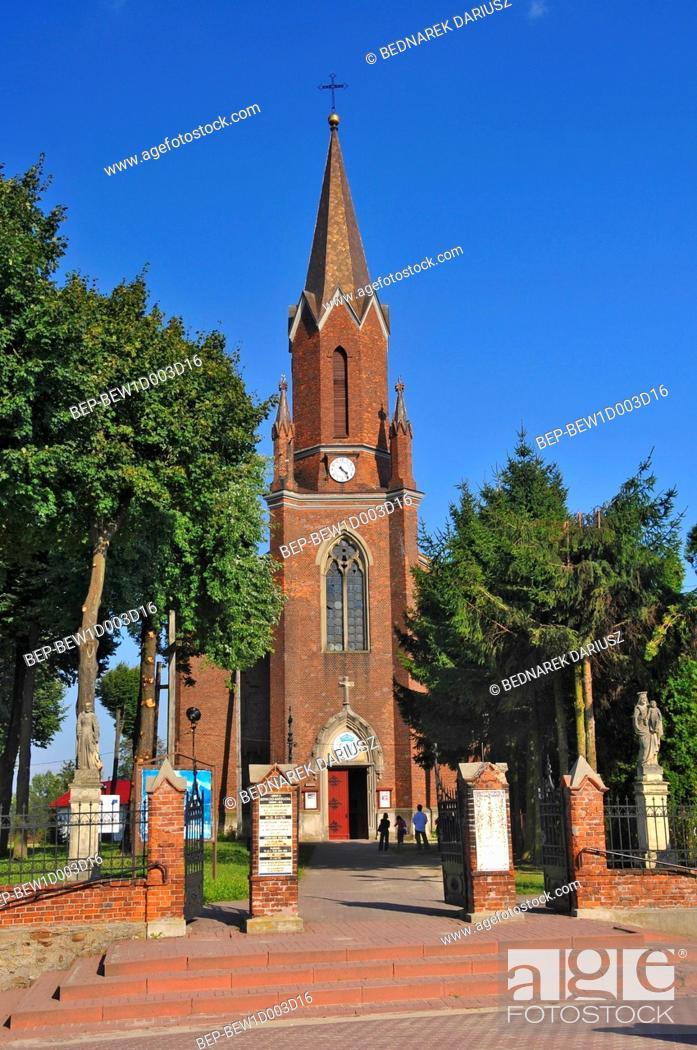 Stock Photo: Neo-Gothic Church of St. Catherine from the beginning of XX century. Iwaniska, Swietokrzyskie Voivodeship, Poland.