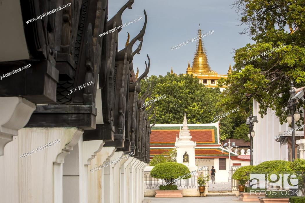 Stock Photo: Wat Saket Temple at Golden Mount, from Wat Thepthidaram Worawihan, Bangkok, Thailand.