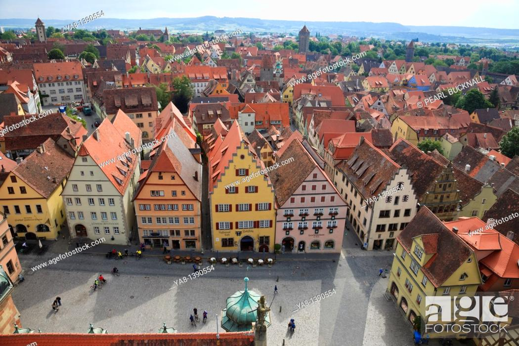 Stock Photo: Marktplatz, Rothenburg Ob der Tauber, Franconia, Bavaria, Germany, Europe  Aerial view of rooftops from the Town Hall Rathaus tower.
