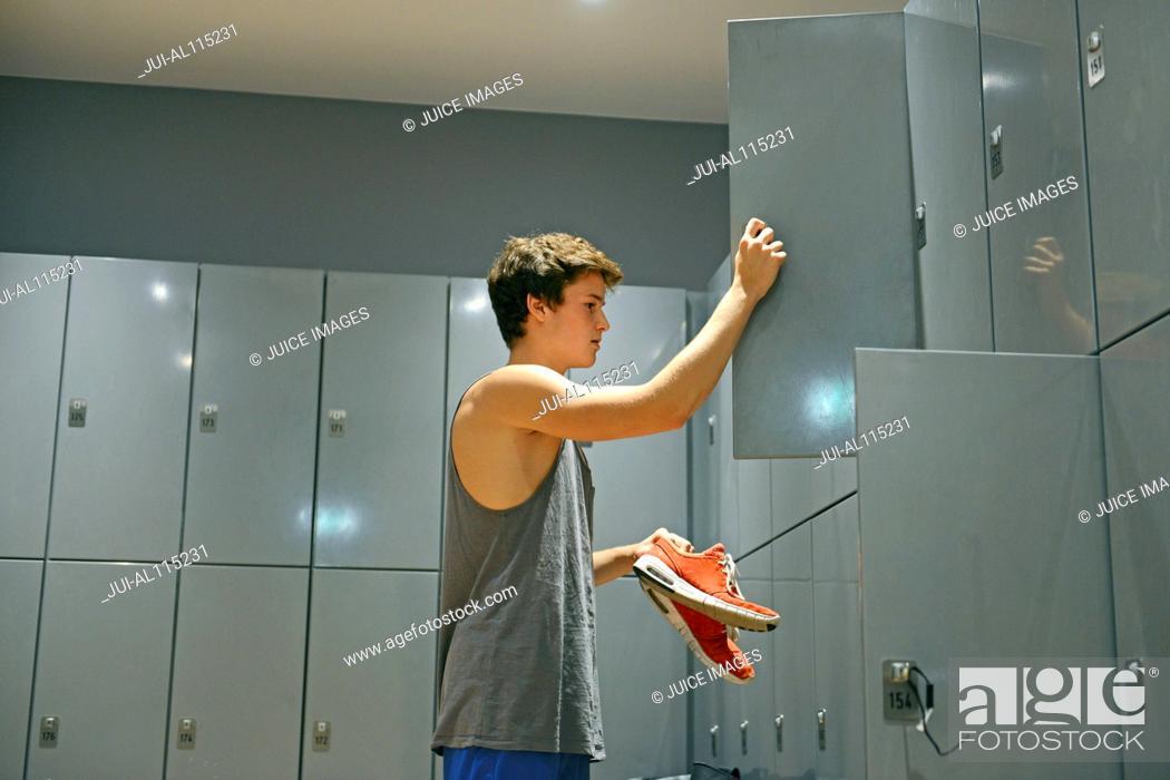 Teen boys in the locker room