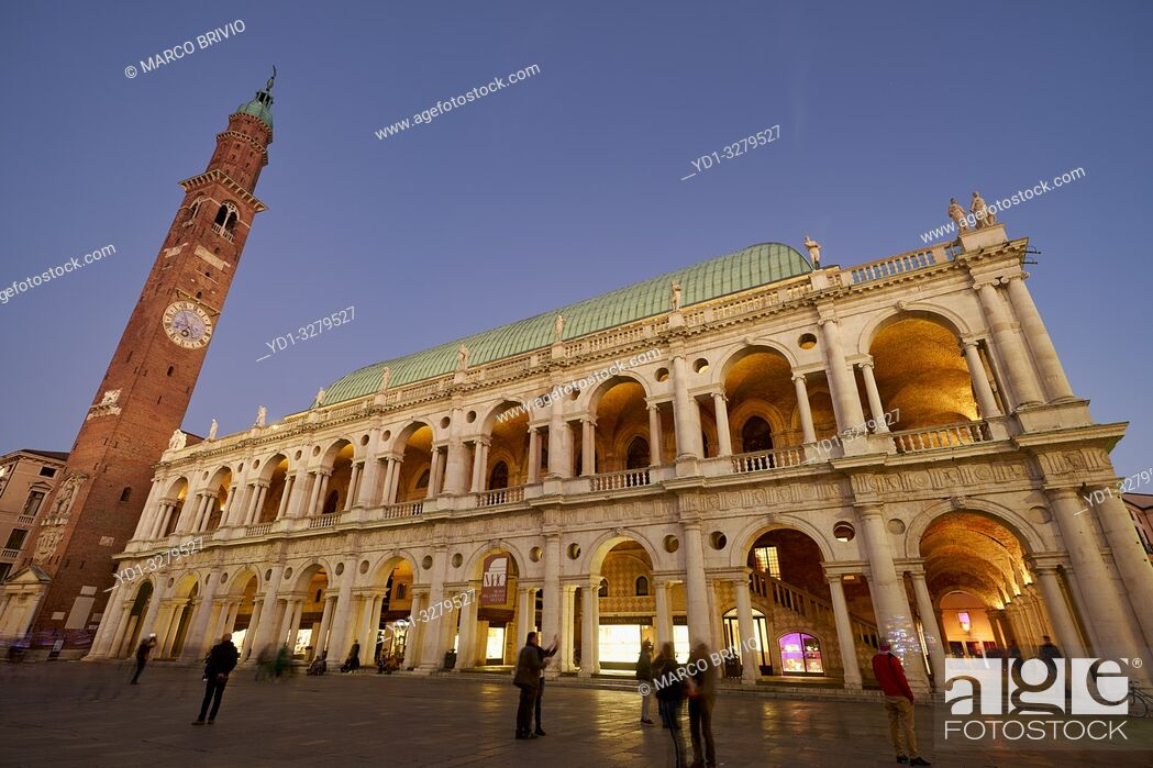 Stock Photo: Vicenza, Veneto, Italy. The Basilica Palladiana is a Renaissance building in the central Piazza dei Signori in Vicenza. The loggia shows one of the first.