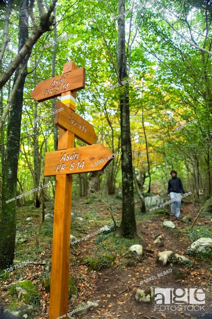 Stock Photo: Pathway and indications post in the Ason waterfall route, Ason valley, Cantabria, Spain, Europe.