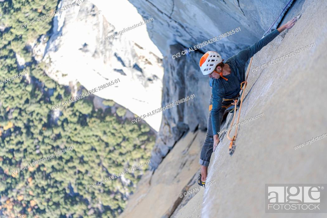 Stock Photo: Rock climber crack climbing on the Nose, El Capitan in Yosemite.