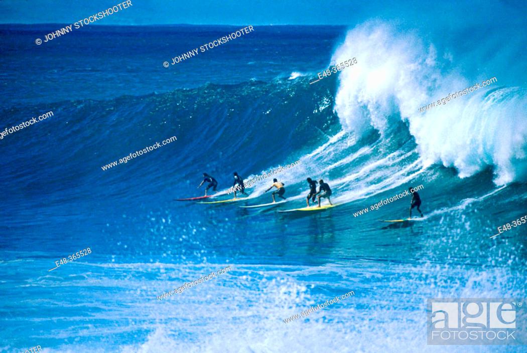 Stock Photo: Surfing, Wiamea bay. Oahu, Hawaii. USA.