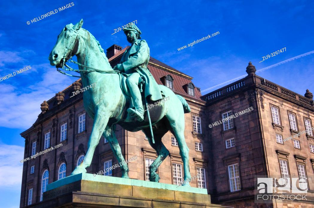 Stock Photo: Bronze equestrian statue of Christian 1X outside Christiansborg Palace (Christiansborg Slot), Slotsholmen, Copenhagen, Denmark, Scandinavia.