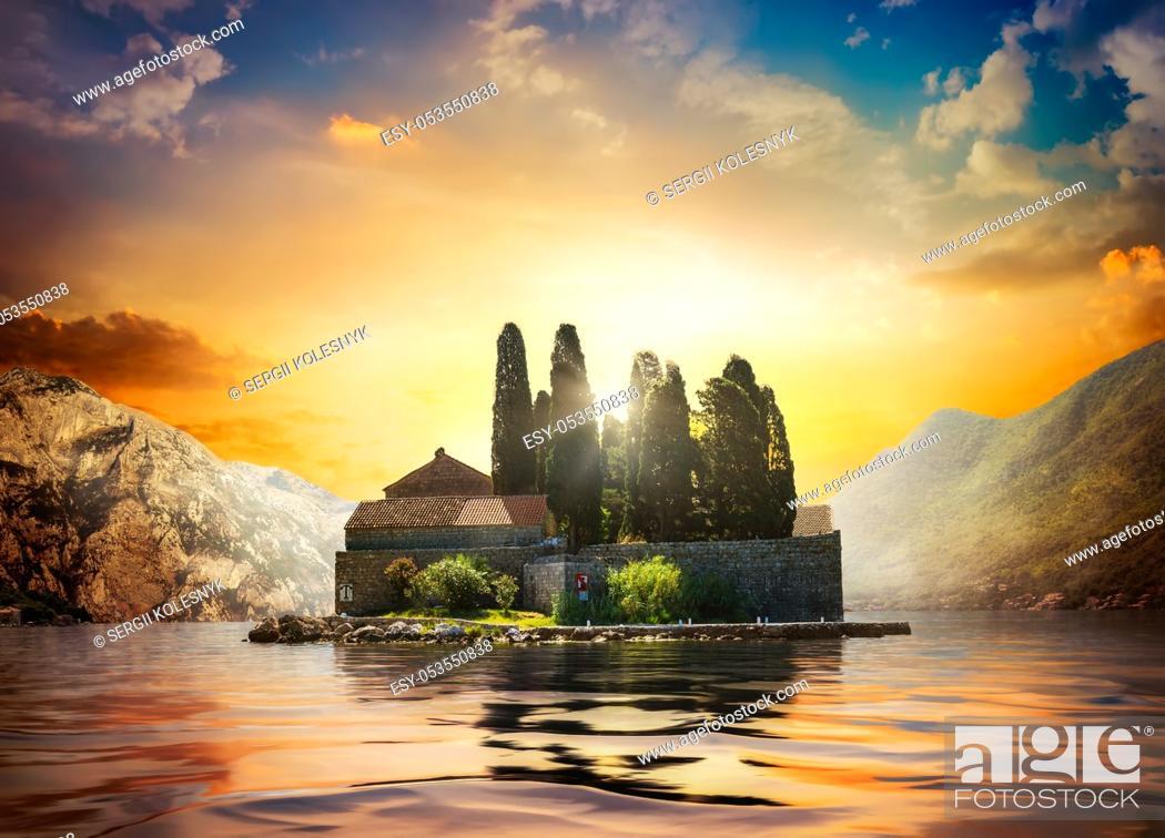 Stock Photo: Beautiful mediterranean landscape. St. George Island near town Perast, Kotor bay, Montenegro.