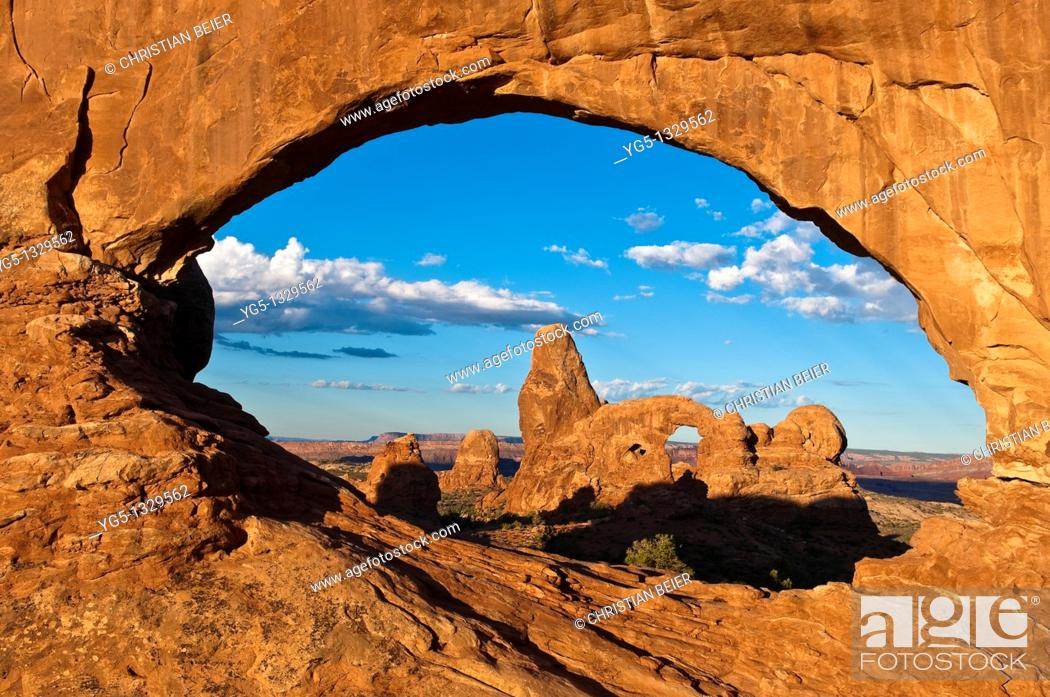 Stock Photo: Looking through the NORTH WINDOW rock arch on the TURRET ARCH rock formation in the morning, Arches National Park, Utah, USA.