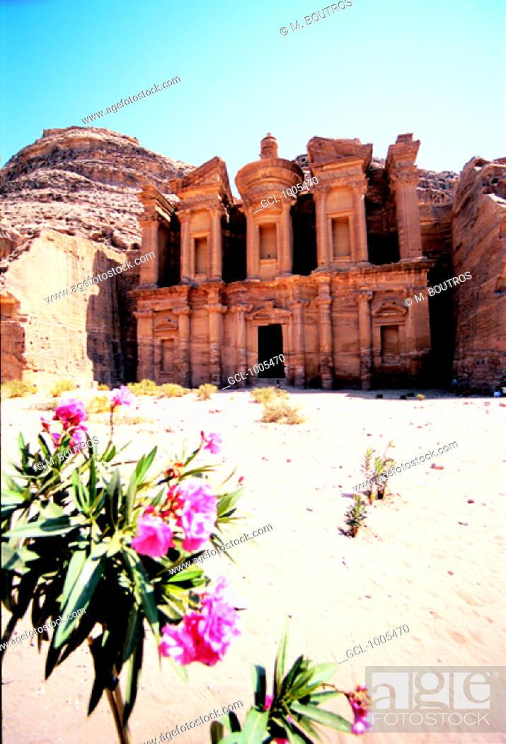 Stock Photo: Facade of Ed Deir (The Monastery), Petra, Jordan.