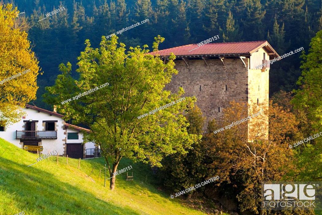 Stock Photo: Etxaburu tower-house in Izurtza, Biscay, Basque Country, Spain.