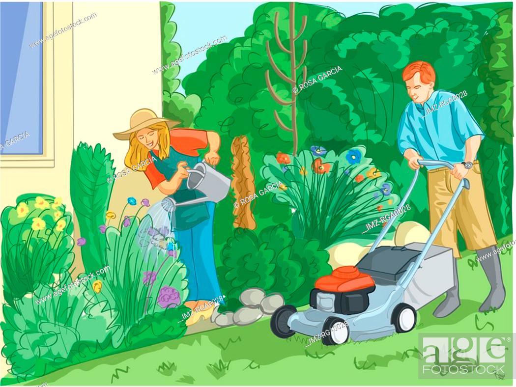 Stock Photo: couple gardening.