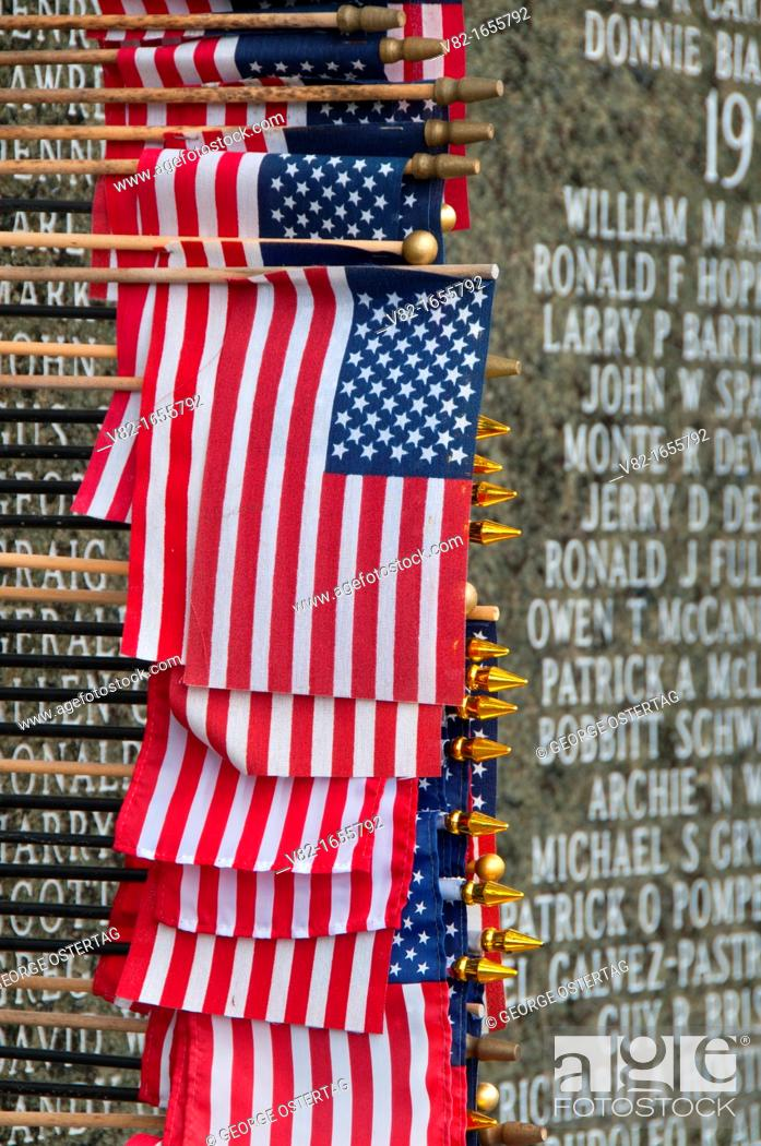 Stock Photo: Washington Vietnam Veterans Memorial with American flag, State Capitol Mall, Olympia, Washington.