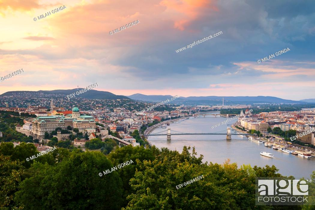 Stock Photo: View of Buda castle and river Danube from Citadella in Budapest, Hungary. .