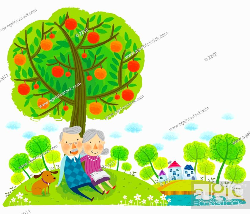 Stock Photo: Elderly couple sitting under tree.