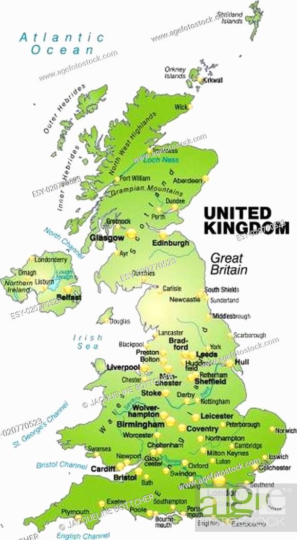 Stock Vector: Karte von England als Übersichtskarte in Grün.